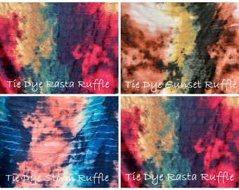 ab5787b9e92 Tie Dye Rasta or Tie Dye Sunset Ruffle Poly/Lycra/Spandex Stretch Knit  Fabric By The Yard