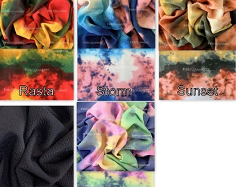 11c30de868f Bullet Textured Tie Dye Storm Sunset Rasta & Black Liverpool Poly/Lycra/ Spandex Stretch Knit Fabric By The Yard