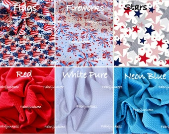 30023b2268f Bullet Textured Patriotic 4th of July Flags Stars Fireworks Red White Blue  Liverpool Poly/Lycra/Spandex Stretch Knit Fabric By The Yard