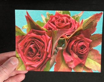 postcard with roses made from leaves, valentines day card handmade flowers, birthday card, botanical stationery, floral friendship card