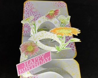 pop up card with daisy flower, 3D card with summer blooms, floral happy birthday card, cute anniversary card for mom, botanical card friend