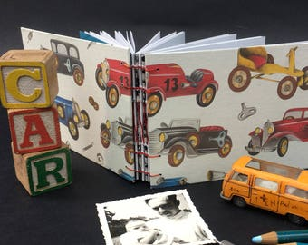 new babyboy memory book with vintage print of toycars, handmade cute blank notebook for a new mom, instax photoalbum for babyshower, journal