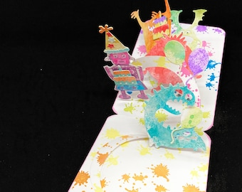 pop up birthday card with robots and monsters, handmade anniversary card for grandchild, 3d card for toddler, funny card for kids party