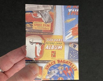 pocket sketchbook with space rockets, small sketchbook with vintage science fiction print, doodle journal with astronauts and spaceships