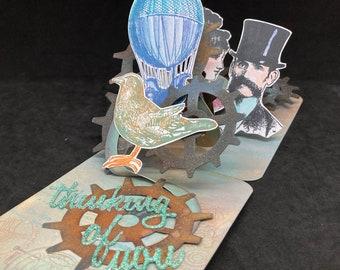 steampunk pop up card,  3D card for a man, pop up birthday card for 50th birthday, anniversary card, graduation card victorian prints