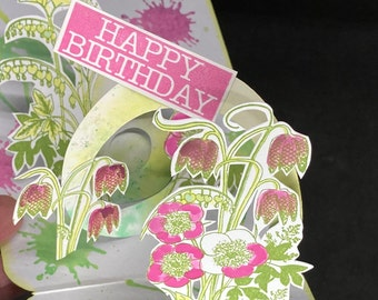 pop up card with spring flowers, 3D card with helleborus flowers, floral happy birthday card, cute  anniversary card for mom or wife