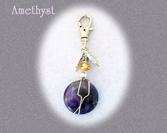 Amethyst Pawmulet - Pet collar amulet - ANXIETY, Excessive barking, fleas deter- 20mm coin bead