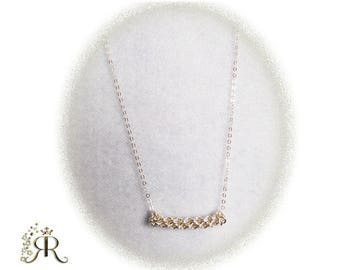 Sterling silver bar hand woven pendant necklace- Ready to be shipped- Holiday gifts