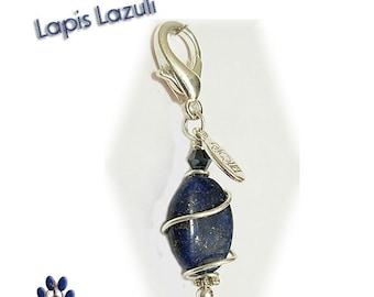 Lapis Lazuli Oval Pawmulet - Pet collar amulet -  Snoring, Respiratory problems, Post traumatic pain. Pet charm