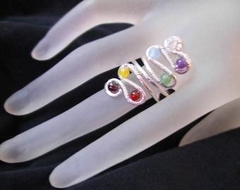 7 Balancing Winding chakra adjusting Ring - aligning energy chakras- sterling silver chakra ring