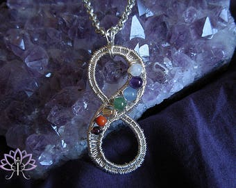 Sterling silver Infinity Balancing and aligning energy chakras Pendant Necklace
