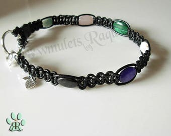 Black Leather Holistic Dog collar necklace with 7 genuine gemstone crystals