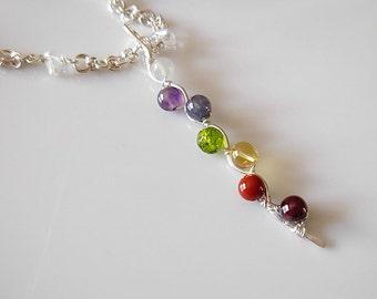 Kundalini Balancing and aligning energy chakras sterling silver Necklace