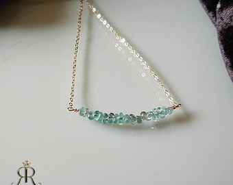 Brazilian Green Kyanite- Bar Necklace / Delicate Gold or Silver Necklace / Dainty Gemstone Chain -14k Gold Filled or Sterling Silver with