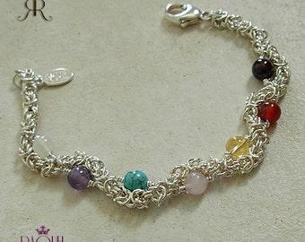 Argentium sterling silver - Seven Chakras bracelet with genuine gemstones