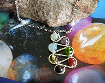 7 Balancing Winding chakra pendant- aligning energy chakras sterling silver Necklace