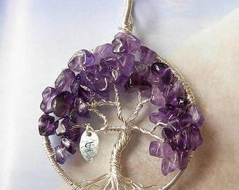 FEBRUARY Birthstone - Sterling Silver Spirituality Amethyst Tree of Life