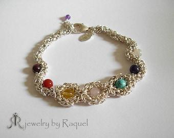 Sterling silver - Seven Chakras bracelet with genuine gemstones- Romanov flower center