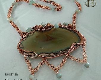 OOAK-Serenity - Agate and Aventurine copper necklace- Picture Agate necklace- Chakra necklace