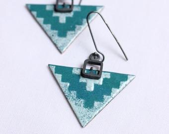 Arrow earrings, Triangular Enamel earrings,  Arrowhead Tribal Earrings, turquoise arrow earrings
