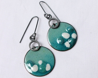 """Enamel Earrings, Medium, dangle, round, fresh, cold color, Turquoise and white Enamels, Sterling silver and copper, """"Lunares earrings"""""""