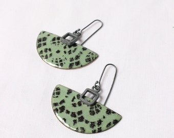 """Sterling silver and copper with Green enamel, semicircle, dangle, elegant modern look and comfortable, """"Romantic lace earrings"""""""