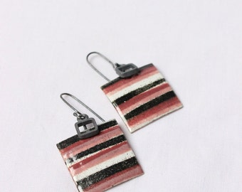 Enamel earrings the Striped pattern,  Pink,  white, dark, gray colors made of sterling silver and copper