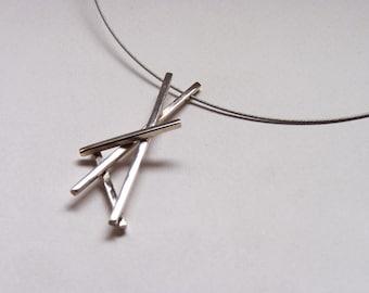 "Unique sterling silver pendant, simple and elegant, ""Mikado Necklace"""