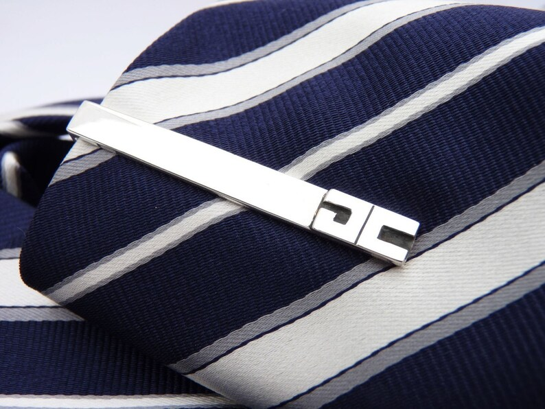 Made to order 4 Personalized Men/'s tie bar clip for your Groomsmen For your wedding Sterling silver