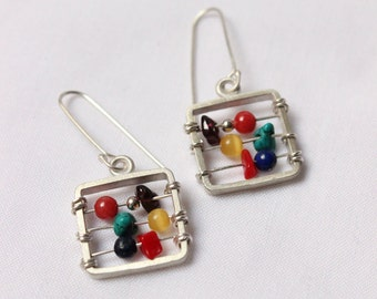 Abacus earrings made of sterling silver and colorful gems,  perfect gift for teacher Math Calculus Accounting