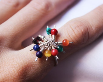 Multicolor Ring Sterling silver and colorful gems - Perfect for Spring Summer Autumn Winter - Colorful Made to order in your size