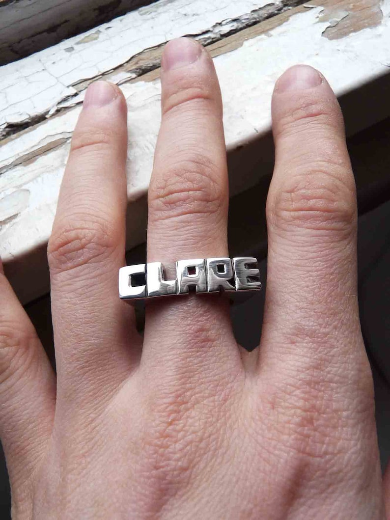 Monogram Ring 5 or 6 Letters Word Signet Personal Ring Sterling silver Fast shipping Initials ring Name Ring