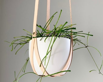 Leather Plant Hanger, Minimalist Hanging Planter, Indoor Plant Accessories, natural nude Planter, Mother's Day Gift