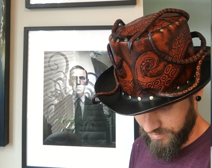 Featured listing image: Leather steampunk Octopus Top hat