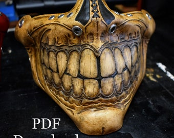 Leather Skull half mask PDF Template  - Digital Leather Pattern - Skull half mask