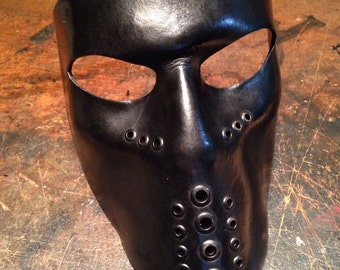 Black Leather mask. Biker mask face shield by skinznhydez steampunk armoury