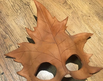 Unfinished leather Leaf mask