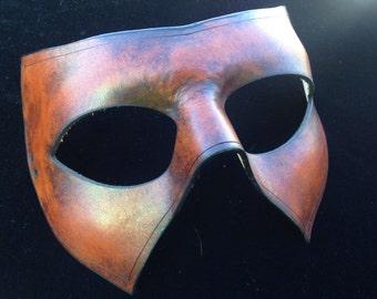 Superhero leather mask canadian handmade half hero villian mask