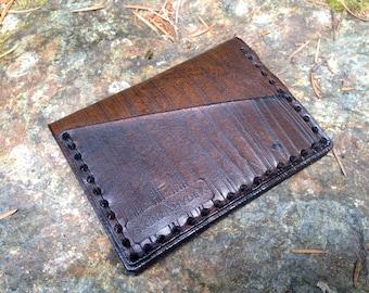 Leather Woodgrain card case wallet