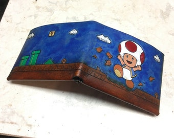Leather Mario wallet - toadstool super Mario world