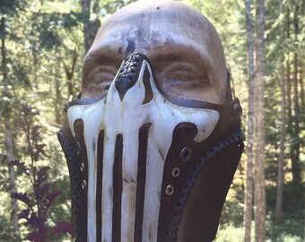 Leather Punisher biker airsoft half mask