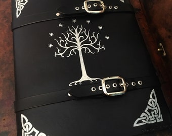 Leather LOTR book cover - Lord of The rings Tree of Gondor journal - day planner - book cover