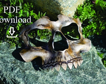 Leather upper skull mask PDF Template  - Digital Leather Pattern