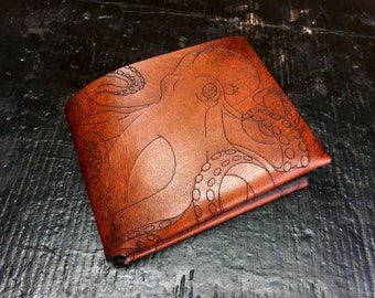 Leather octopus Cthulhu wallet