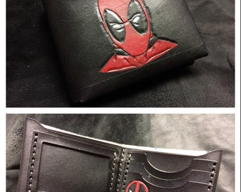 Black Leather Deadpool Wallet
