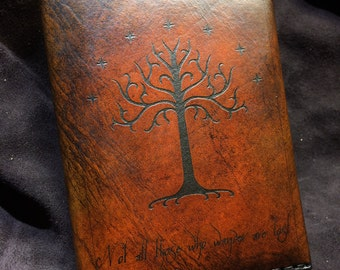 Leather Lord of the rings passport wallet cover White Tree of Gondor