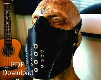 Leather breather mask PDF pattern Template  - Digital Leather Pattern - Skull half mask