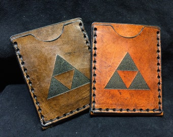 Leather Zelda Triforce card case