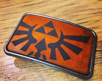 Zelda Hyrule crest leather belt buckle