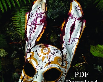 Leather rabbit splicer mask PDF Template  - Digital Leather full Rabbit splicer mask Pattern from Bioshock